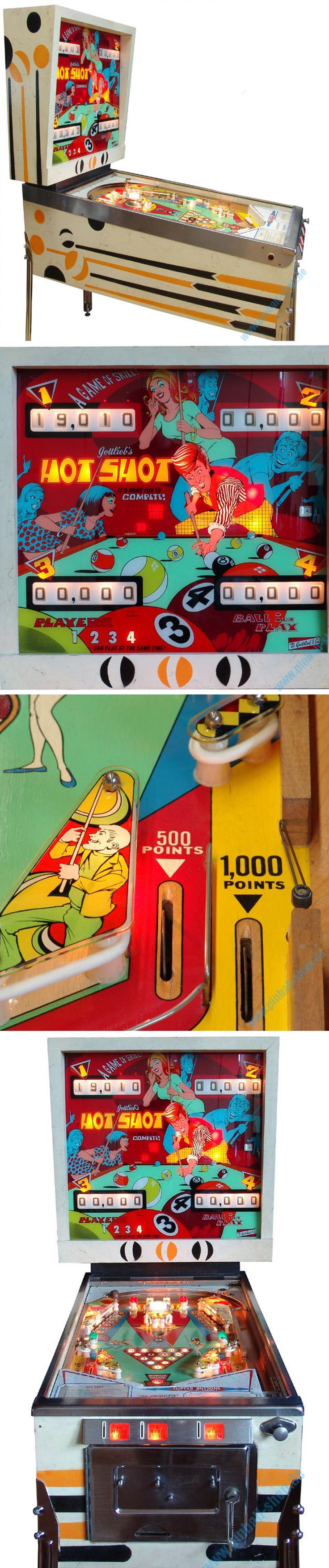 Hot Shot - Pool Themed Mid Century Pinball Machine ( Retro Pin Ball / Vintage Arcade )