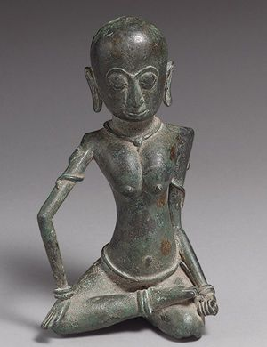 Seated female ascetic, Eastern Javanese period, 15th–16th century  Indonesia (Java), Majapahit kingdom  Bronze; H. 6 5/8 in. (16.8 cm)