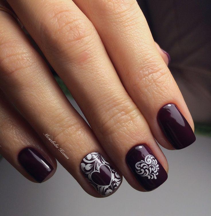 Dark autumn nails, Dark gel polish, Dark shellac nails, Fall nail ideas, Heart nail designs, Nails for autumn dress, November nails, Plum nails