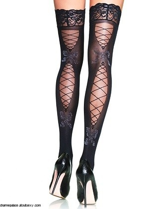 opaque stockings with corset/fishnet on the back, $18.30