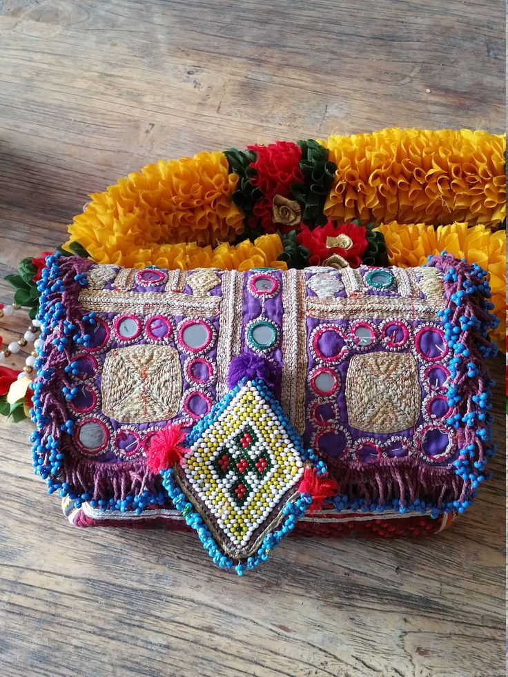 Gorgeous Vintage Pashtun And Hmong Textile Clutch With Tribal Beaded Trim by KavanaEmporium on Etsy