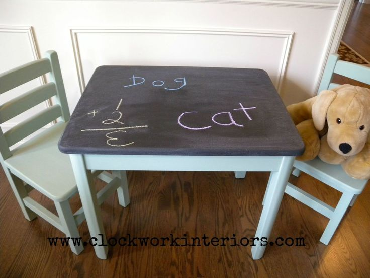 Child S Table And Chair Makeover With Chalkboard And Milk Paint