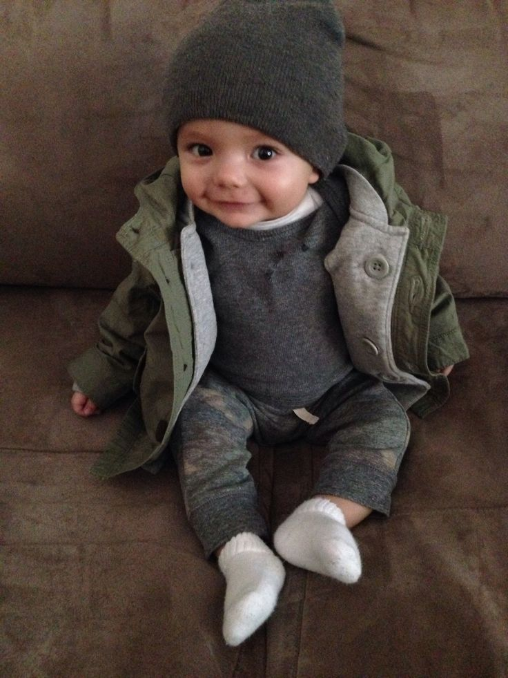 cool My sweet trendy little boy's style. Parka from baby gap. Onesie is Nordstrom...