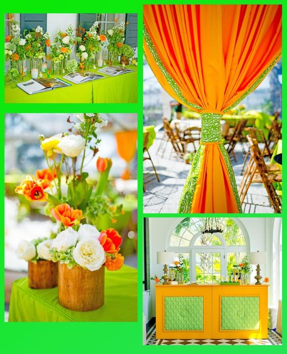Green And Orange Fabric Combo