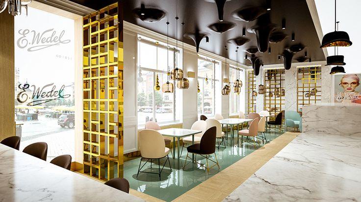 lesinska concept completes cafe wedel as a chocolate wonderland