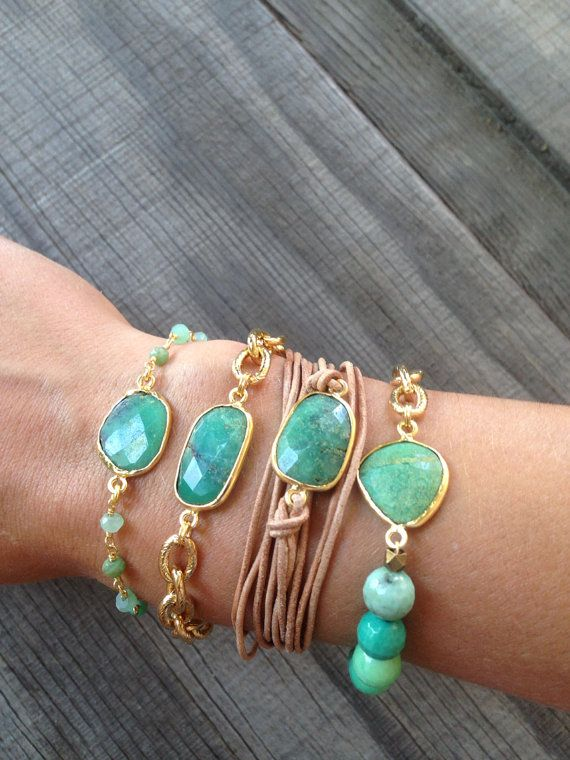 Bezel Set Chrysoprase Stone Bracelet with Gold Chain