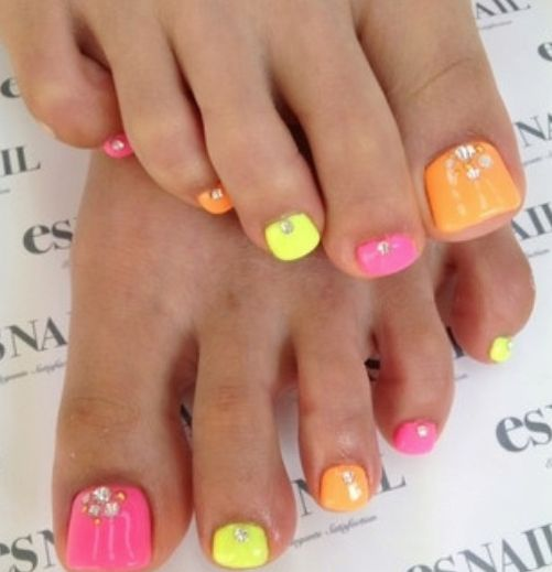 Super cute pedi - pink, orange and yellow toenails