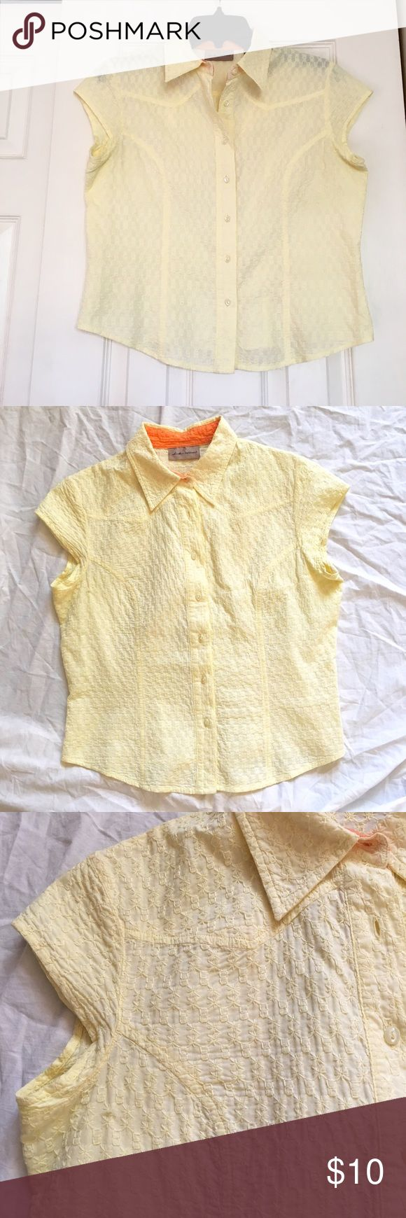 """Yellow Cap Sleeve Eyelet Cotton Blouse Collar I.e. relaxed, Size Medium, Yellow Cap Sleeve Eyelet Cotton Blouse With oxford collar, 7-buttons, shirt tail hem, princess seaming for fit, Western style pointed yoke front and back. Great with cutoffs, Jeans And skirts! Measures 16"""" across shoulders, 19"""" armpit to armpit, 22"""" long from shoulders, 19"""" side to side at hem. BUNDLE and SAVE i.e. relaxed Tops Button Down Shirts"""