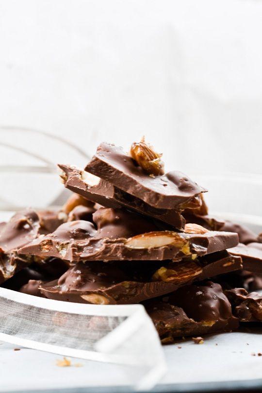 Chocolate Almond Bark with Sea Salt and Caramel from Bon Appetit December 2011
