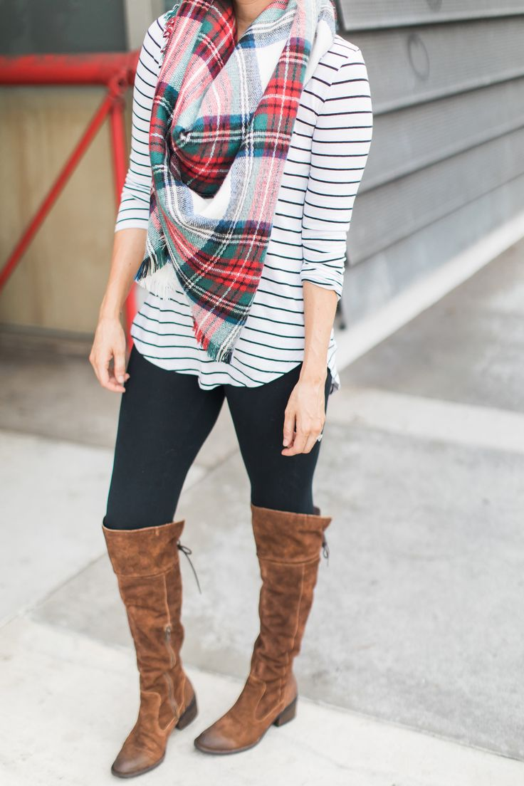Staple Fall Outfit - Boots, Stripes, and Plaid | Ali Fedotowsky