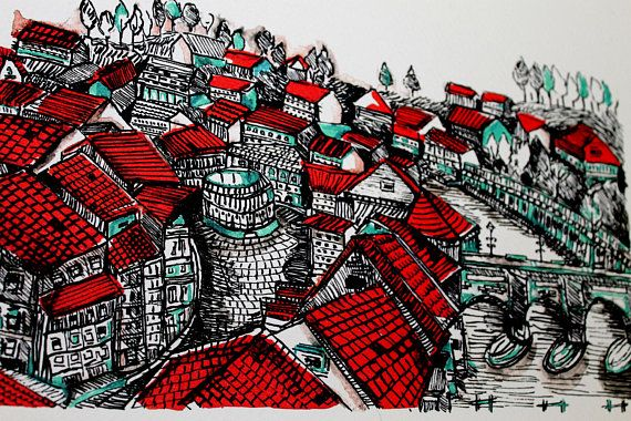 22USD Budapest city art print. A print of original watercolor and ink illustration  Printed on watercolor paper - 27cm X 35 cm . 300g/m2 10.6in X 13.8in .140 lb  Size of the drawing on the paper around 20.5cm 14.5cm  It is signed and not framed  by aliaaessamart