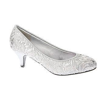 Silver Low Heel Lace Court Shoe - bridal shoes - shoes - Wedding - BHS