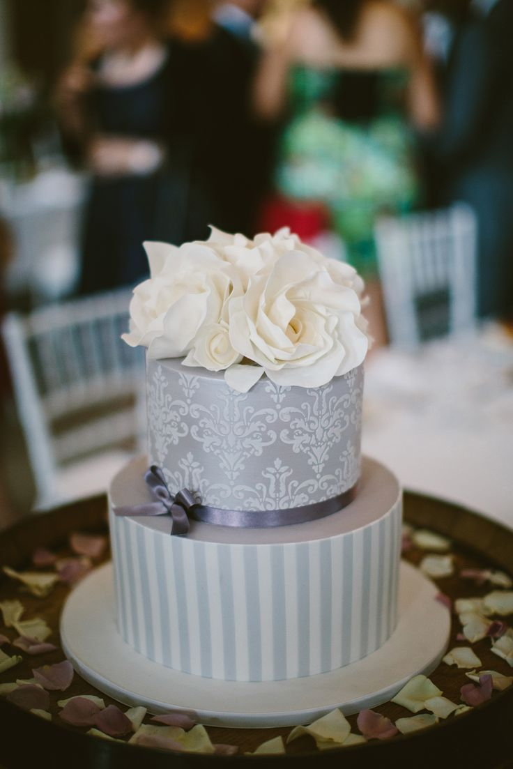 Silver and white wedding cake. Image: Cavanagh Photography http://cavanaghphotography.com.au