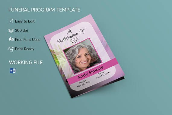 Printable Funeral Program Template Memorial by easyfuneral - free funeral program templates for word