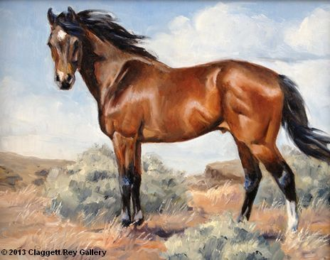 Blustery Day - horse painting by Cynthia Rigden