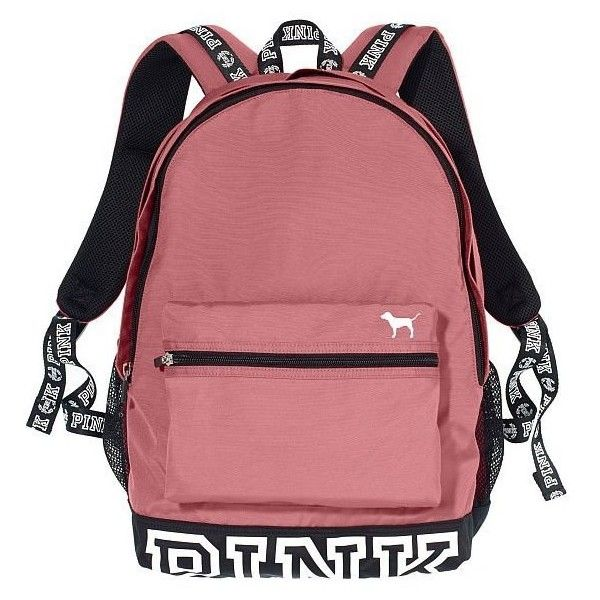 Victoria's Secret PINK Campus Backpack Soft Begonia (£78) ❤ liked on Polyvore featuring bags, backpacks, victoria's secret, red bag, rucksack bags, backpack bags and victoria secret bag
