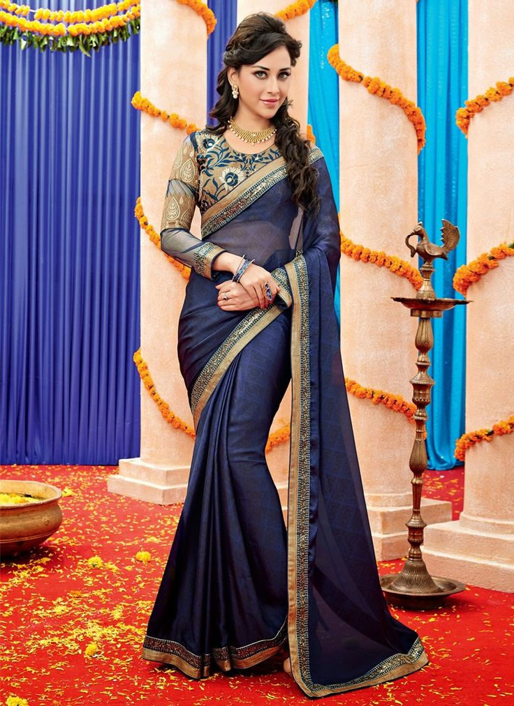 Observable Blue Satin Embroidered Party Wear Saree