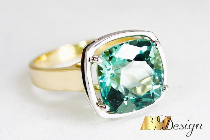 Pierścionek z prasiolitem projekt i wykonanie Bm Design. Zjawiskowy, okazały pierścionek z prasiolitem. Kolorowy - Biżuteria na indywidualne zamówienie. Prasiolit Złoto Diamenty Szafiry Biżuteria Platyna