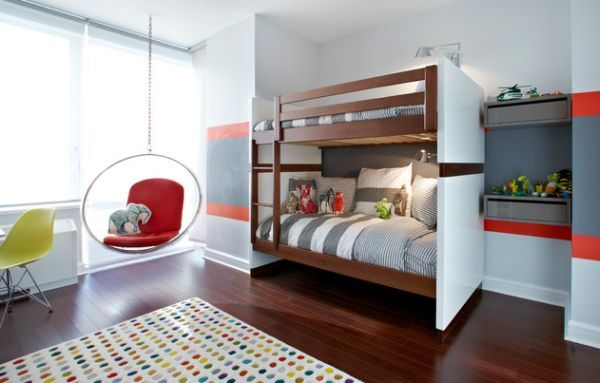Trendy kids' room with a bubble chair and bunk beds - Decoist