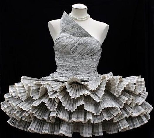 Website for this image  Jolis Paons beautiful, sublimely imaginative duct tape and phone book dress…  improvisedlife.com
