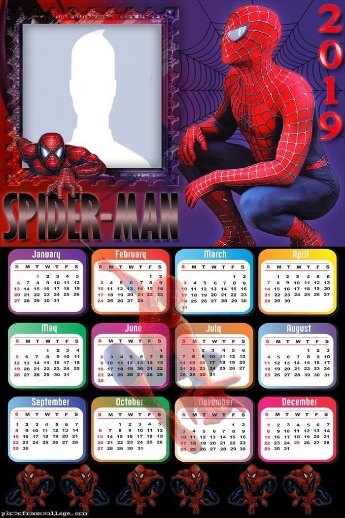 Photosi Calendario.Spider Man Homecoming Calendar 2019 Frame Photo Montage Free