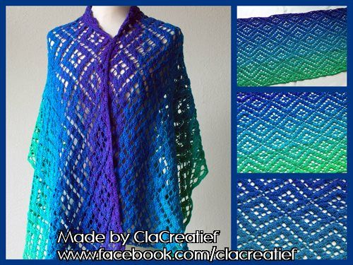 Made by ©ClaCreatief; Gehaakte shawl met Unikat garen. Het patroon is van Wieke van Keulen.