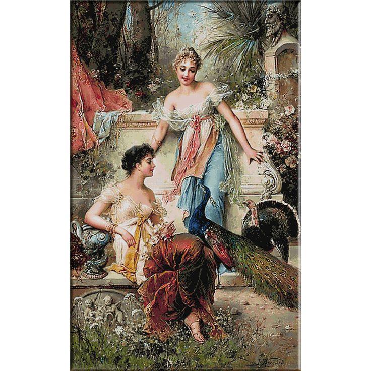 2616.Hans Zatzka-In the garden - Goblen KRIF Timisoara