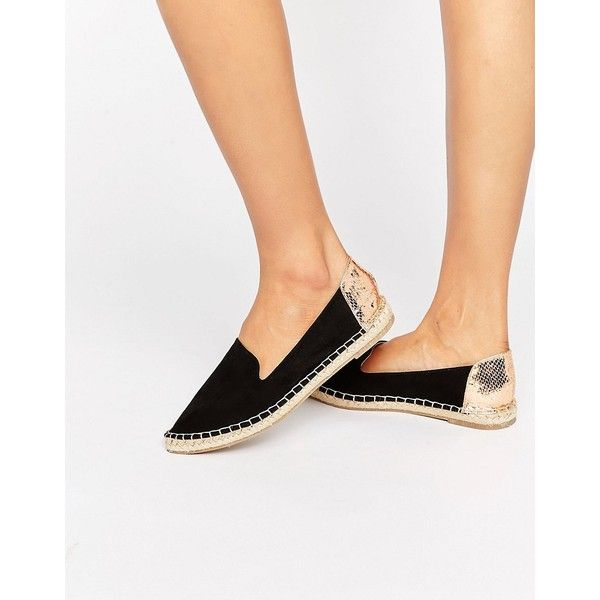 ASOS JEWELS Pointed Espadrilles ($25) ❤ liked on Polyvore featuring shoes, sandals, black, black slip-on shoes, pointed toe shoes, espadrille sandals, black braided sandals and braided sandals