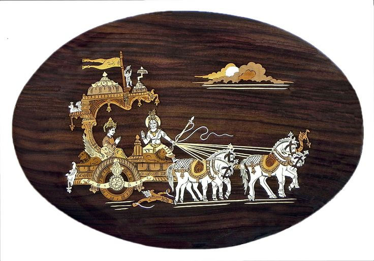 Gita Updesh - Inlaid Wood Wall Hanging (Wood Inlay)