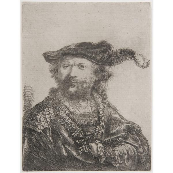 "Rembrandt van Rijn / ""Self-Portrait in Velvet Cap and Plume,"" 1638 / Etching on paper / 	Des Moines Art Center Permanent Collections; Purchased with funds from the Edmundson Art Foundation, Inc., 1950.137 / Photo Credit: Rich Sanders, Des Moines"