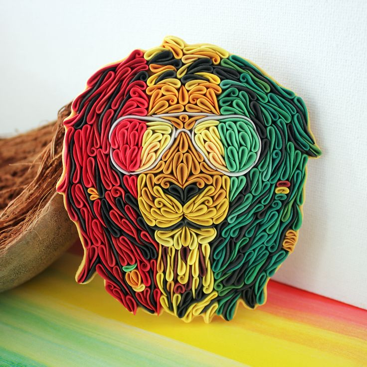 Rasta lion. Made from polymer clay