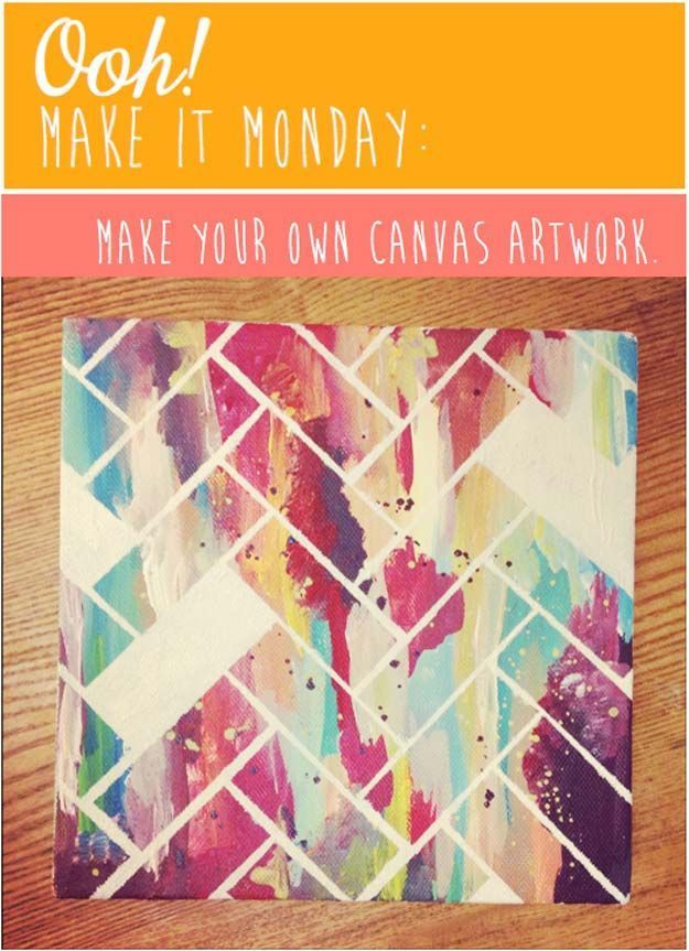 DIY Wall Art Ideas for Teen Rooms - DIY Chevron on Canvas - Cheap and Easy Wall Art Projects for Teenagers - Girls and Boys Crafts for Walls in Bedrooms - Fun Home Decor on A Budget - Cool Canvas Art, Paintings and DIY Projects for Teens http://diyprojectsforteens.com/diy-wall-art-teens