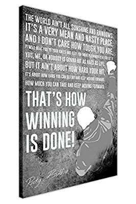 """BLACK AND WHITE FAMOUS ROCKY BALBOA MOVIE QUOTE FRAMED CANVAS WALL ART PRINTS BOXING SPORTS PICTURES SIZE: A3 - 16"""" X 12"""" (40CM X 30CM)  Canvas It Up £14.99"""