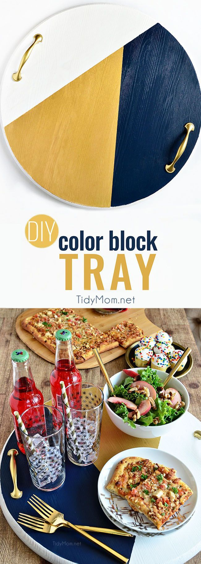 A bold colorful tray is the perfect way to add a pop of color to a space and use it as a serving tray when entertaining. The color blocking gives this tray a modern look while the touch of gold adds a little elegance! Get the full tutorial to make your ow