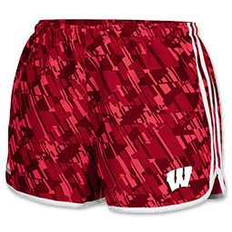 Women's Colosseum Wisconsin Badgers College Flip II Shorts| FinishLine.com | Pink/Yellow/Teal