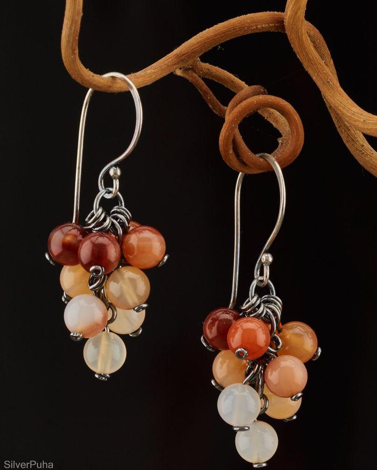 """Carnelian silver earrings """"Autumn berries"""" by SilverPuha on Etsy"""