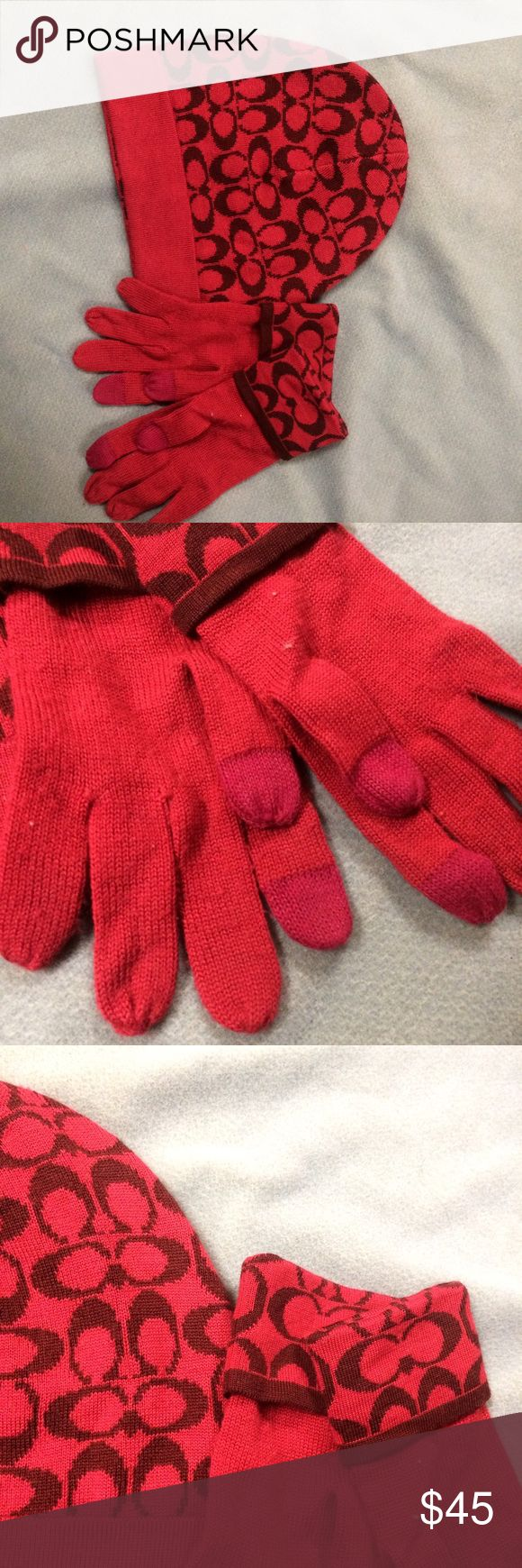 Coach hat and tech gloves Super stylish hat and gloves with touch screen capability. Color is a little off in the picture, more of a burgundy/red plum. Worn maybe 2-3 times.  Bundle and save! Feel free to make me an offer :) Coach Accessories Gloves & Mittens