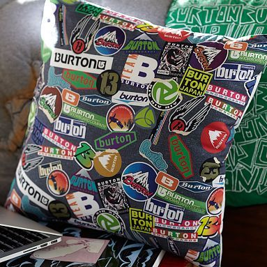 Burton Vintage Sticker Pillow Cover