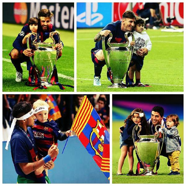 FC Barcelona Players's Kids with Champions League Trophy | FC Barcelona Pictures
