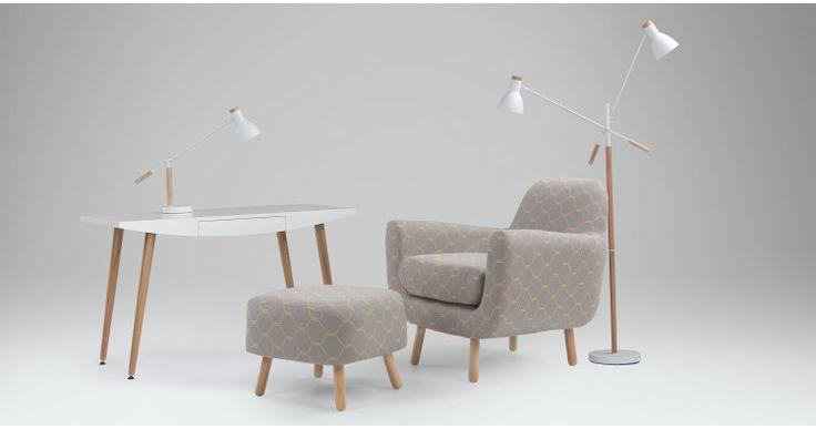 Jonah stoel, zeshoekig geweven in grijs/geel | made.com