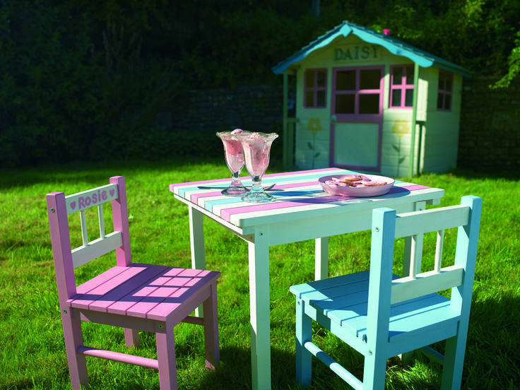 Paint their little furniture with bright colours and give them a place to eat in the sunshine. http://www.diy.com/departments/cuprinol-garden-shades-sweet-sundae-wood-paint-1l/272541_BQ.prd