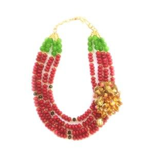 Available Rp. 1,500,000 | $150 Ruby Jade, Green Agate and Swarovski Brooch