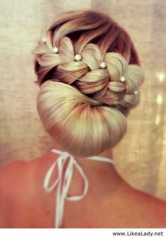 www.weddbook.com everything about wedding ♥ Pearl-studded braid with a chignon  #weddbook #wedding #hair #bride