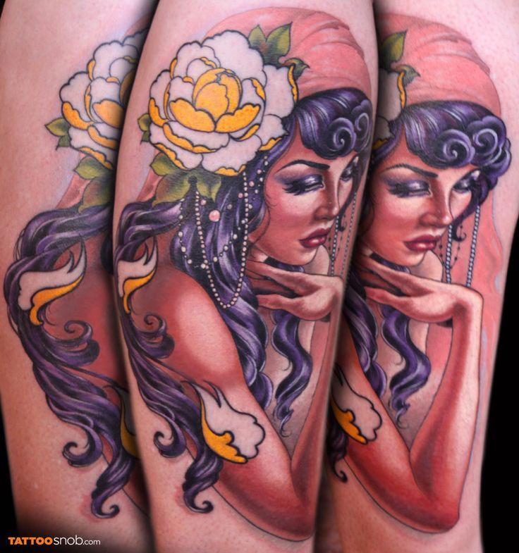 Beautiful lady tattoo by Jesso Lange