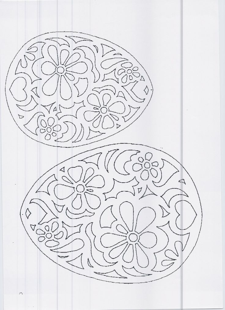 DIY: Floral eggs. Free Paper craft; stencil/template/pattern.