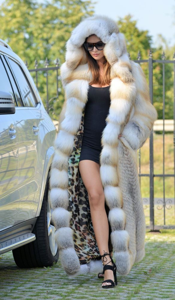 2016 GOLDEN ISLAND FOX LONG FUR COAT HOOD CLAS CHINCHILLA SABLE MINK LYNX SILVER in Clothes, Shoes & Accessories, Women's Clothing, Coats & Jackets   eBay