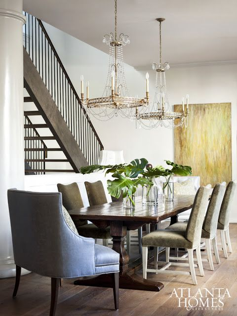... Kravet Head Of The Table Seats Are Covered In An Indoor/outdoor Fabric,  A Saving Grace For Party Fouls. Crystal Chandeliers From Circa Lighting Add  Rays ...