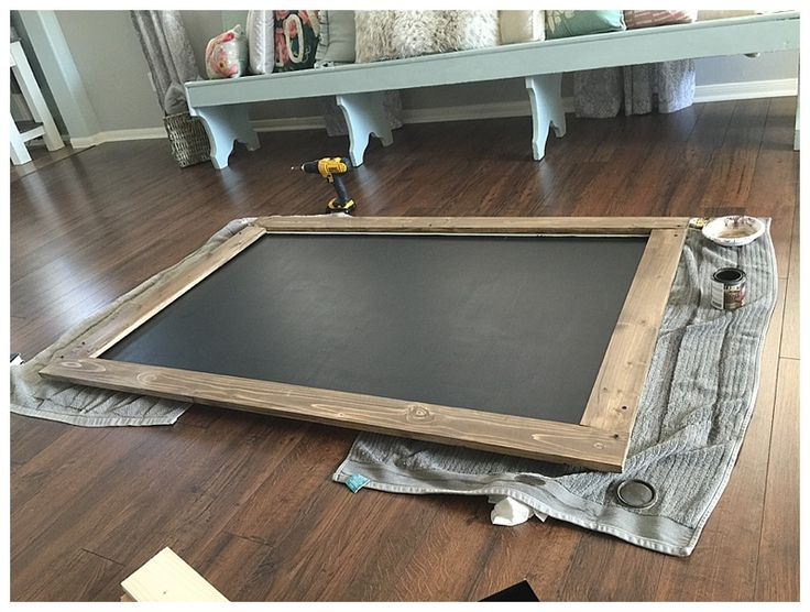 """Happy Thursday! Today I am going to share with you how I made my DIY large chalkboard. We don't have much """"large wall"""" spacein our home, as in most of our walls have windows! This is great because itis always full of natural light. We only have two """"big walls"""" downstairs and one of them …"""