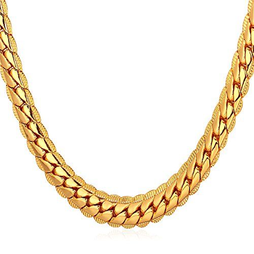 """U7 18K Gold Plated Necklace With """"18K"""" Stamp Men Jewelry 4 Colors 6 MM Wide Snake Chain Necklace ** You can get additional details at the image link."""