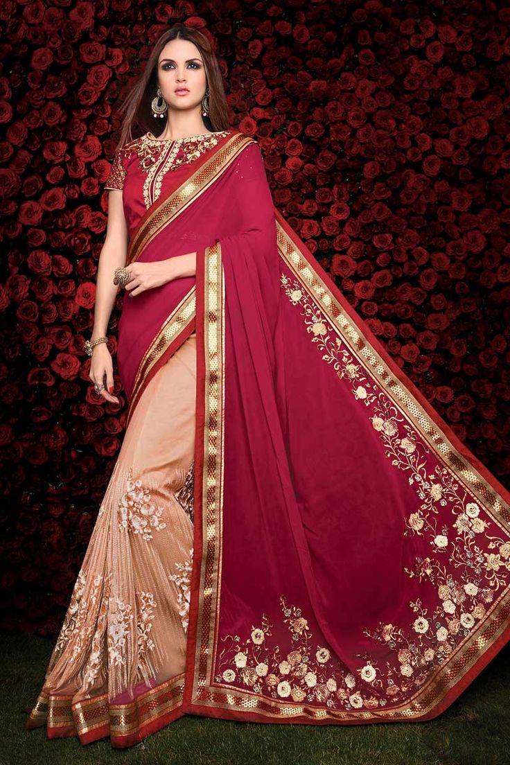 #Andaazfashion presents Cream Pink georgette saree with art silk blouse http://www.andaazfashion.com.my/womens/sarees/cream-pink-georgette-saree-with-art-silk-blouse-dmv8462.html